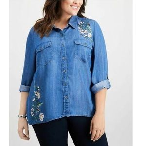 NWT Style & Co embroidered floral buttondown plus